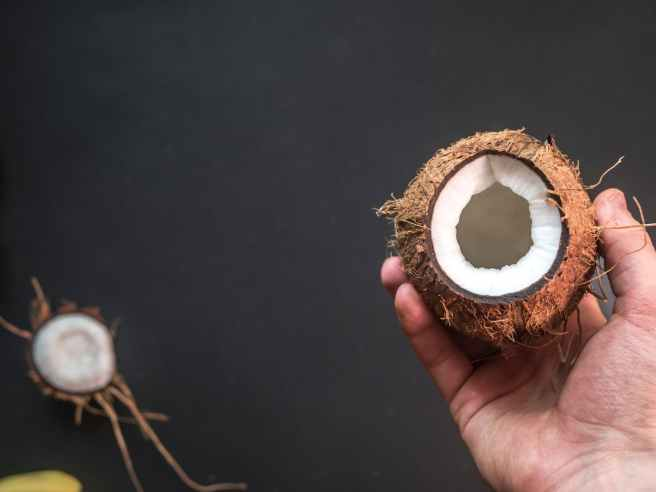 black background coconut disjunct fresh