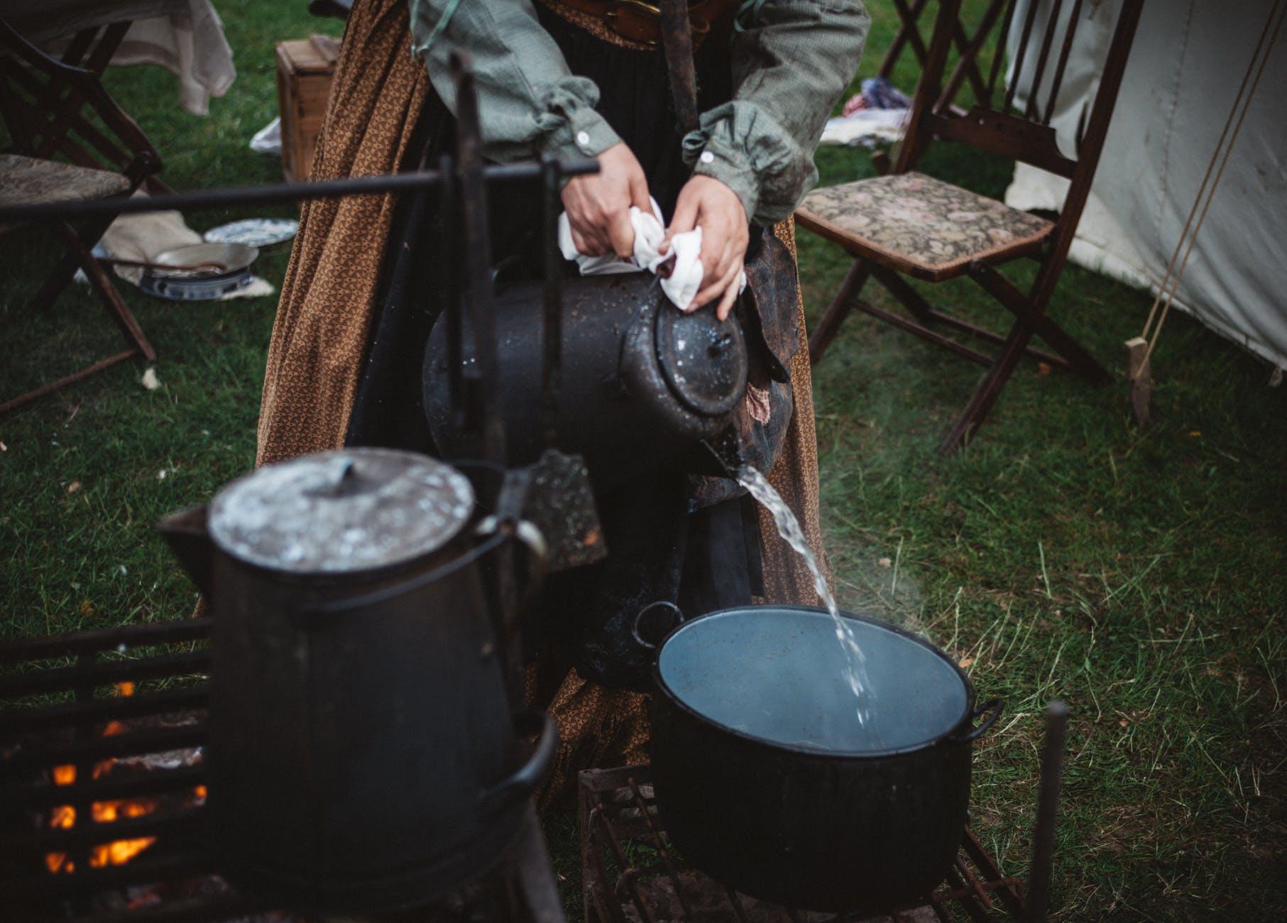 adult boil breakfast camping